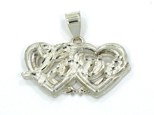 REMINI USA Inter-Twined LOVE Double Heart Sterling Silver Pendant