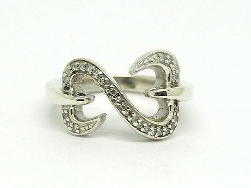 JANE SEYMOUR JWBR Sterling Silver Diamond Double Open Heart Collection Ring