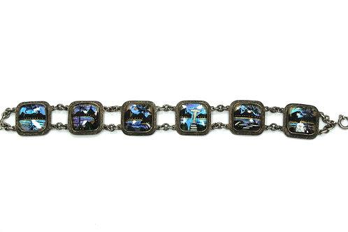 ALFANO BRASIL RIO Vintage BLUE BUTTERFLY WING Links Bracelet