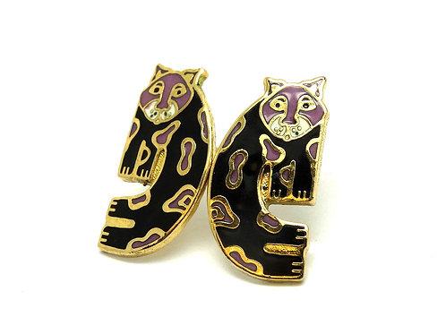LAUREL BURCH Vintage BABY SNOW LEOPARD Gold GP Purple Black Enamel stud Earrings