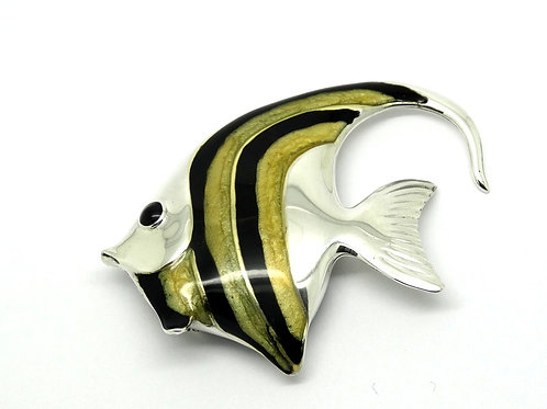 Enchanting Yellow & Black Enamel ANGEL FISH Sterling Silver Italy Brooch Pin