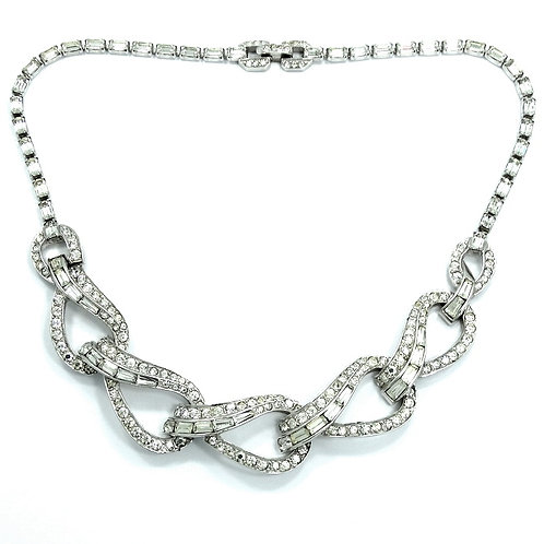 """Vintage BOUCHER Signed/Numbered Silver Tone Rhinestone 15"""" Necklace #536"""