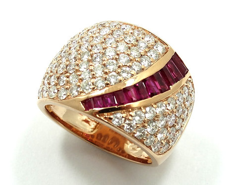 Signed EFFY RUBY & DIAMOND Encrusted Cocktail 14k Rose Gold STATEMENT Ring s.7