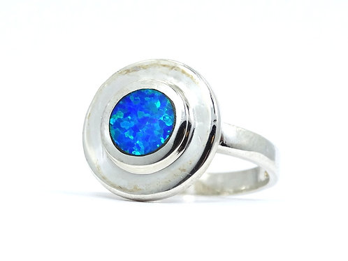 Lovely Modernist Inlaid OPAL Circle Double DISC Top Sterling Silver Ring s.9