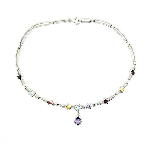 Sterling Silver Genuine Multi Color Stone Necklace