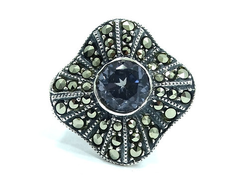 JUDITH JACK Synthetic ALEXANDRITE Marcasite Sterling Silver Ring s.5-1/2