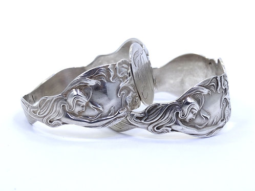 "2 Gorgeous Art NOUVEAU Antique 925 Sterling Silver NAPKIN RING Holders ""F"" Mono"