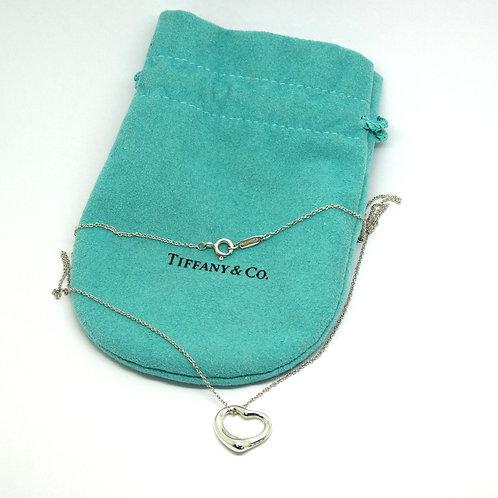 Tiffany & Co ELSA PERETTI 925 Sterling Silver OPEN HEART Pendant Necklace T&Co