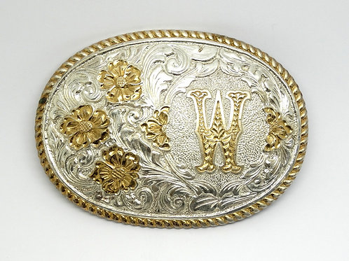 "Large Crumrine Oval Flower Belt Buckle ""W"""