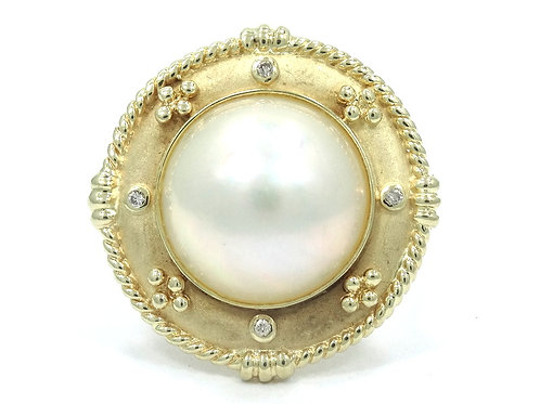 Mabe Pearl Diamond 14k Yellow Gold Flower Basket Hat style Ring