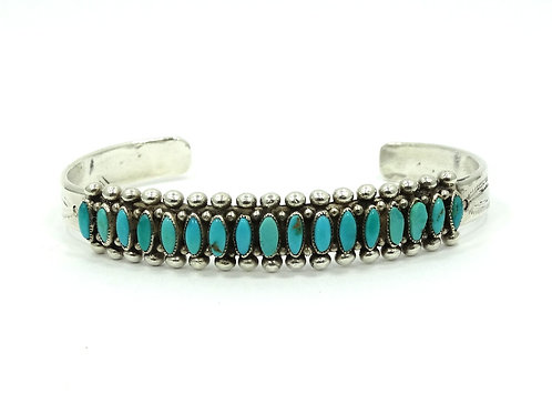 Old Pawn Vintage ZUNI Native American Sterling Silver Blue Turquoise Cuff Bangle