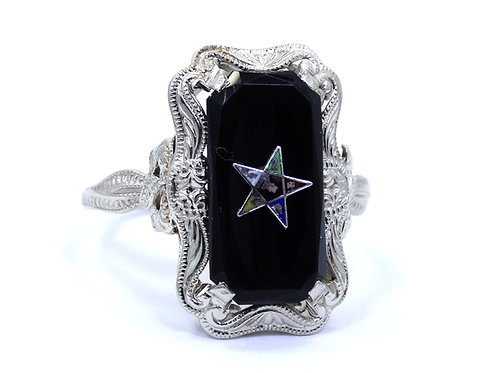 Antique Ladies FREEMASONIC Eastern STAR 18k White Gold Black Onyx Ring s.9