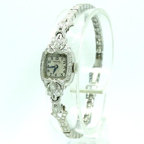 Antique ART DECO HAMILTON DIAMOND Platinum PT900 14k White Gold 17 Jewel Watch
