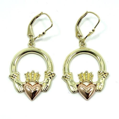 Irish CLADDAGH 14K Two Toned Heart in Hands Dangle Earrings