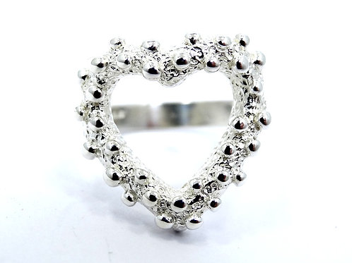 Vintage Mexican Modernist BALL BEAD Open HEART Sterling Silver Ring s.6