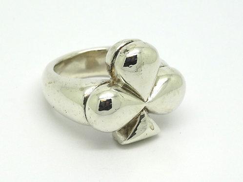 Mens BAR Vintage Heavy Irish Pride SHAMROCK 3 Leaf Clover Sterling Silver Ring