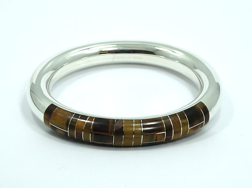 #12 of 6000 C-II Mexico Inlaid TIGER'S EYE 925 Silver Bangle Bracelet
