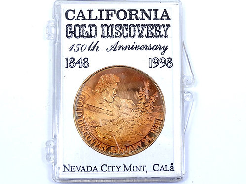 "1848-1998 150 Years CALIFORNIA GOLD MINER DISCOVERY 1.5"" Bronze Medal"