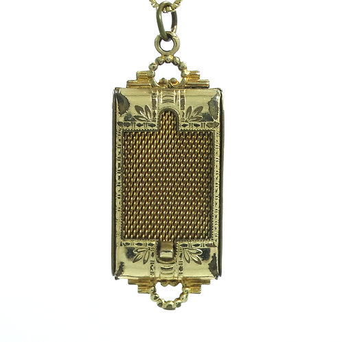 "Victorian Antique ""W"" MESH ROLLER WINDOW LOCKET 1/20 12k Gold Filled Pendant"