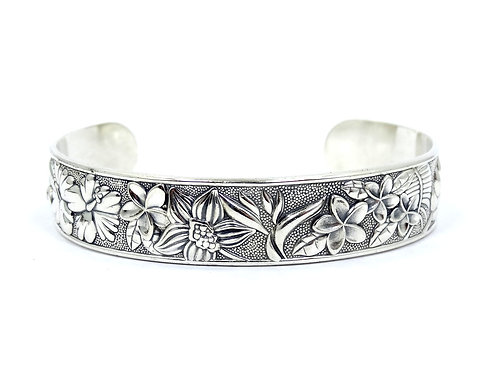 "KABANA Tropical Flower PLUMERIA HIBISCUS Sterling Silver 7"" Cuff Bangle Bracelet"
