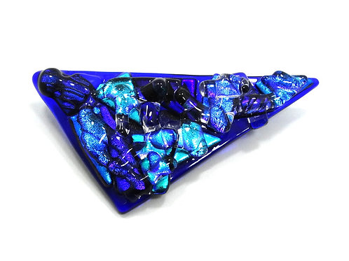 Oceanic Blue Sea Waves Modernist ART GLASS Triangle Brooch Pin