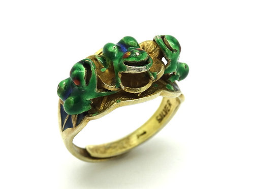 Rare Vintage Chinese Enamel FROG Gilt Silver Ring