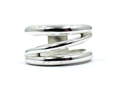 Vintage TIFFANY & CO ITALY Diagonal Crossover 12mm WIDE Sterling Silver Band s.7