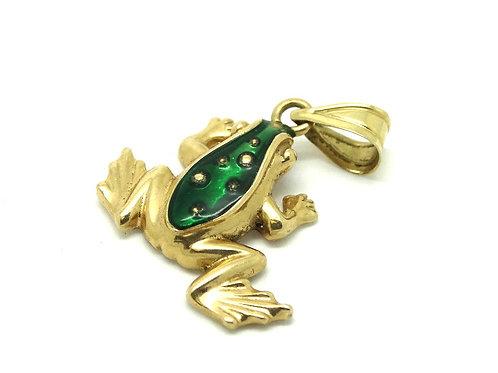 Green Enameled Solid 14k Gold Tree Frog Pendant