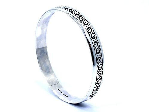 Suarti BA Bali Indonesia 925 Scroll filigree Sterling Silver Bangle Bracelet