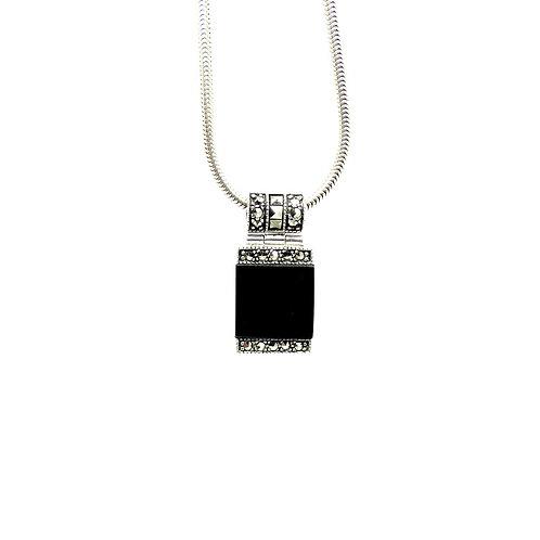 Elegant Sterling Silver Onyx Marcasite Pendant