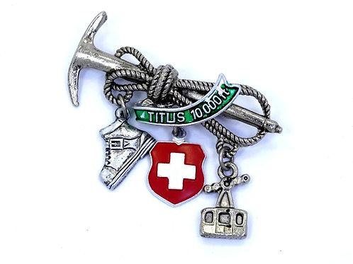 Swiss Alpine TITLIS 10,000 Ft Mountain Climbing PICK ROPE GONDOLA Brooch Pin