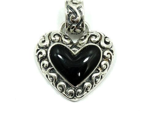 Mexico Designer JRI Black Onyx HEART Sterling Silver Scroll Pendant