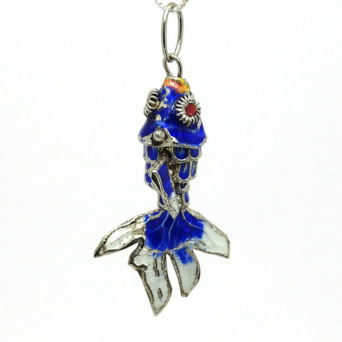 Old Chinese Export Articulated Enamel Fish Charm