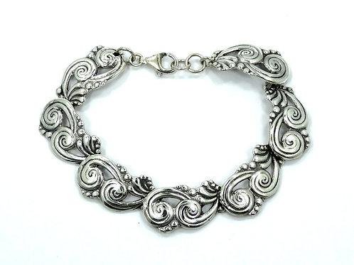"""Modernist Signed """"HOB"""" Mexico 925 Sterling Silver Link Bracelet"""