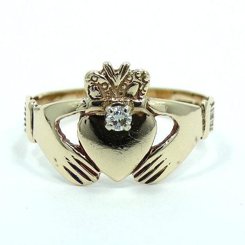 Antique Diamond IRISH CLADDAGH Dublin Ireland 9Ct 375 Gold Wedding Ring 7-3/4