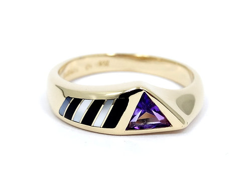 KABANA Trillion cut AMETHYST Inlaid MOP ONYX 14k Gold Band Ring s.7