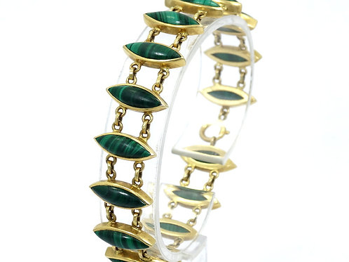 Victorian Antique Marquise MALACHITE 875 GOLD Eastern Europe Link Bracelet