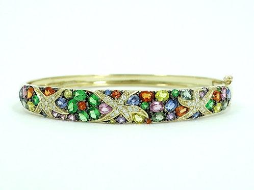 EFFY Collection WATERCOLORS DIAMOND Colored SAPPHIRES 14k Gold Bangle Bracelet