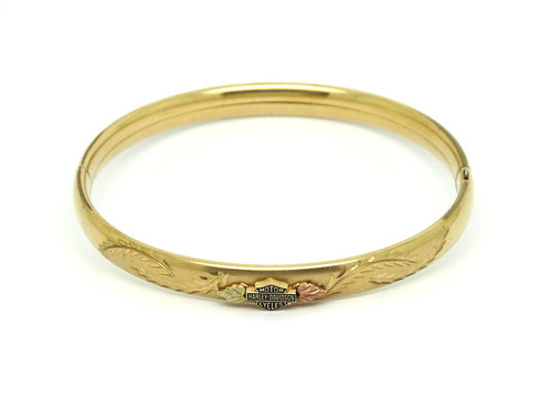 Beautiful Vintage Black Hills Gold Bangle Bracelet Hd Harley Davidson Shield Emblem On The Center With Leaves Either Side