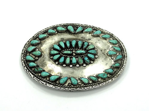 Vintage ZUNI Native American OLD PAWN Turquoise Sterling Silver Belt Buckle