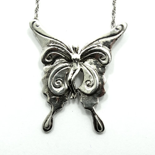Vintage MARTY MAGIC M. MACKLIN 1978 Fairy Butterfly 925 Silver Pendant Necklace