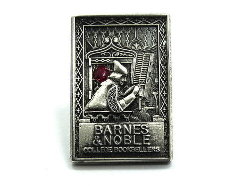 BARNES & NOBLE College Booksellers Sterling Silver RUBY Lapel Tie Tack Pin