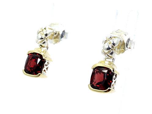 LORENZO Red Cushion Cut GARNET 18K Gold & Sterling Silver Stud Drop Earrings