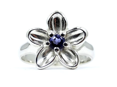 TIFFANY & CO 2003 Nature Purple/Blue IOLITE FLOWER 925 Sterling Silver Ring