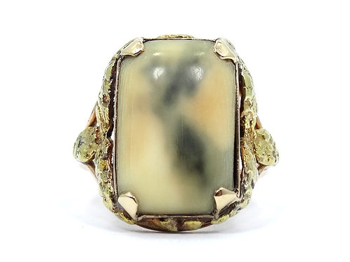 Antique ALASKAN KLONDIKE FOSSIL MASTODON Natural PURE NATIVE GOLD NUGGET Ring