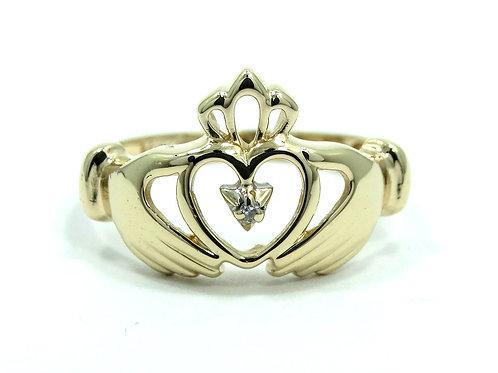 IRISH CLADDAGH Alwand Vahan 14k Gold Diamond Wedding Ring 6.5