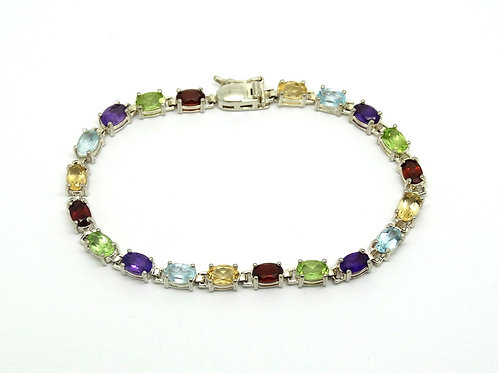Colorful MultiStone 925 Silver Tennis Bracelet