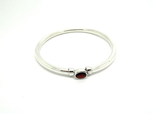 Solitaire GARNET Sterling Silver Bangle Bracelet