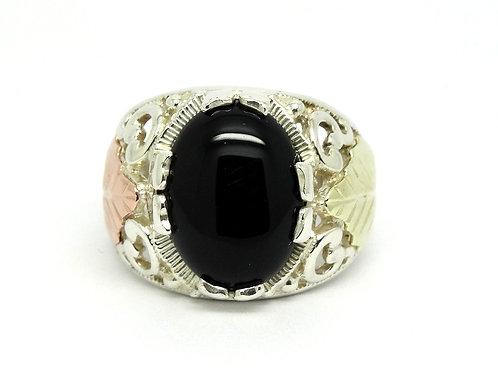 CCO. COLEMAN CO BLACK HILLS 12k Solid Gold 925 Silver Black Onyx Ring Sz.10