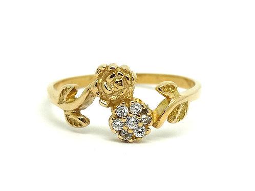 Double Rose Flower Petite CZ Stone 10k Gold Ring